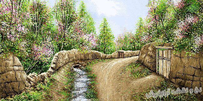 نخ و نقشه و لوازم آماده بافت تابلو فرش منظره کوچه باغ بهاری - کد 2239