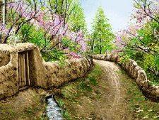 خرید اینترنتی و آنلاین نخ و نقشه تابلو فرش منظره کوچه باغ بهاری - کد 2203
