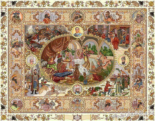 نخ و نقشه و مصالح آماده بافت تابلو فرش قالیچه سلاطین - کد 617