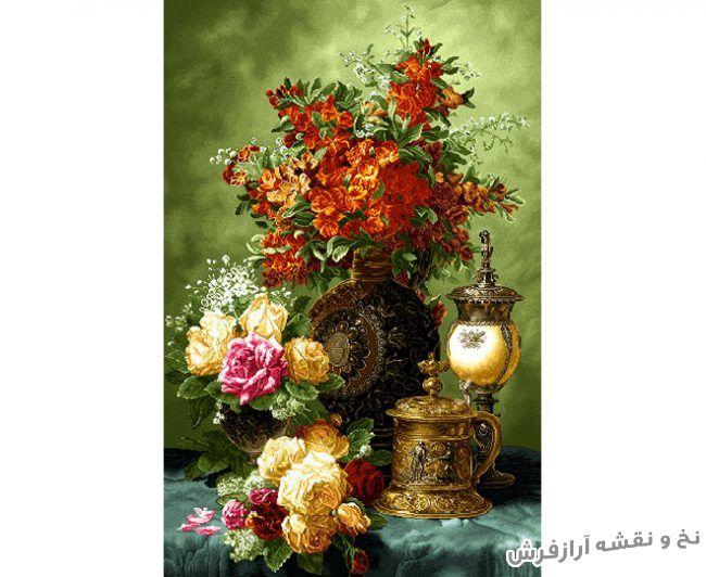 نخ و نقشه و مصالح آماده بافت تابلو فرش دستباف طرح گل رز و گل زنبق - کد 1018