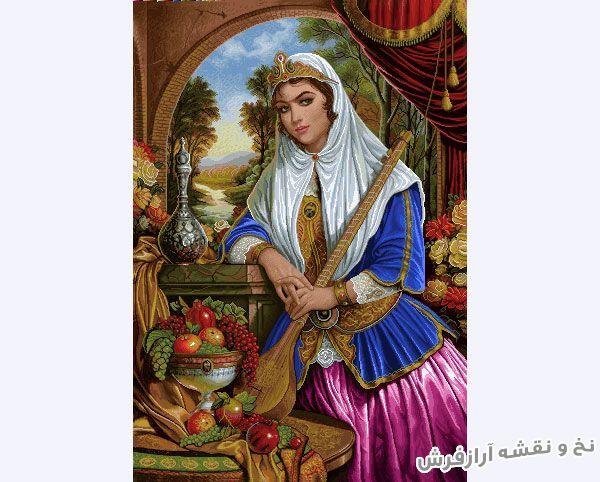 نخ و نقشه آماده تابلو فرش طرح دختر سه تار زن ایرانی - کد 3203