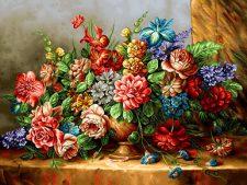 نخ و نقشه آماده بافت تابلو فرش دستباف طرح گل و گلدان روی میز - کد 1089