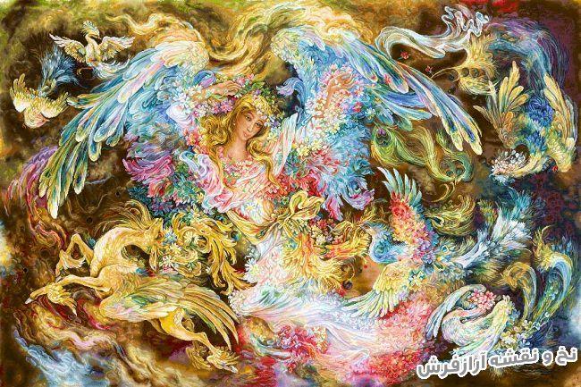 نخ و نقشه آماده بافت تابلو فرش طرح مینیاتور اثر استاد فرشچیان - کد 3051