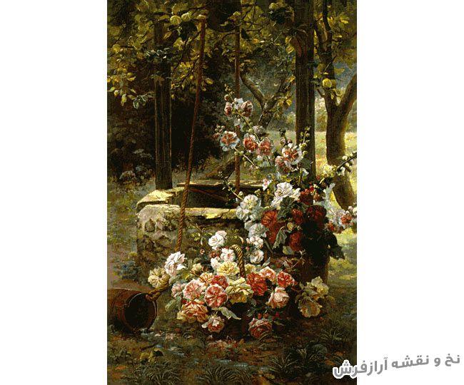 نخ و نقشه و مصالح آماده بافت تابلو فرش طرح دسته گل زیبا در باغ و جنگل - کد 1022