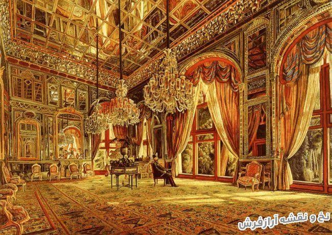 نخ و نقشه آماده بافت تابلو فرش طرح دربار قاجار یا تالار آیینه - کد 1748