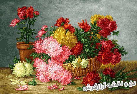 نخ و نقشه و مصالح آماده بافت تابلو فرش طرح گل و گلدان روی میز - کد 1053
