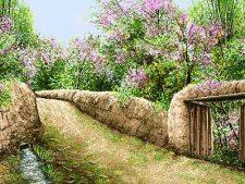 نخ و نقشه آماده بافت تابلو فرش طرح منظره کوچه باغ بهاری - کد 2259