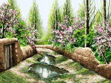 فروش اینترنتی نخ و نقشه آماده بافت تابلو فرش طرح منظره کوچه باغ بهاری - کد 2262