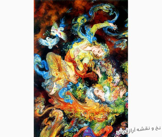 نخ و نقشه و لوازم بافت تابلو فرش طرح مینیاتور طرح نفس اثر استاد فرشچیان - کد 3101
