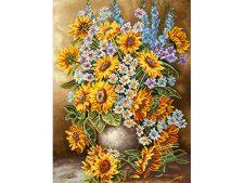 نخ و نقشه و مصالح آماده بافت تابلو فرش طرح گل و گلدان آفتابگردان - کد 1064