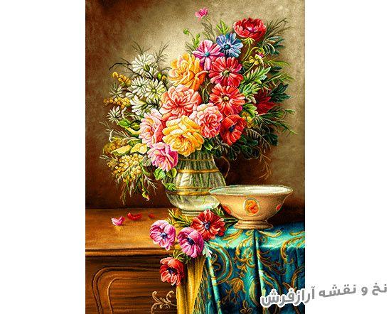 نخ و نقشه آماده بافت تابلو فرش طرح گل و گلدان زیبا - کد 1065