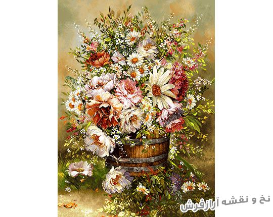 نخ و نقشه و مصالح آماده بافت تابلو فرش طرح گل و گلدان - کد 1068