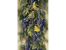 نخ و نقشه تابلو فرش دستباف طرح خوشه انگور و پرنده ها - کد 1074