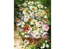 نخ و نقشه و مصالح آماده بافت تابلو فرش طرح گلدان گل وحشی - طولی - کد 1078