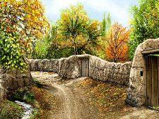 نخ و نقشه و مصالح آماده بافت تابلو فرش منظره کوچه باغ پاییزی قدیمی و زیبا - کد 2278