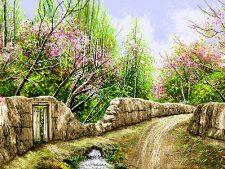 نخ و نقشه و مصالح کامل آماده بافت تابلو فرش طرح کوچه باغ بهاری - کد 2284