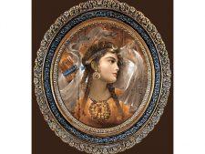 نخ و نقشه و لوازم آماده بافت تابلو فرش طرح تابلو چهره دختر ایرانی - کد 3227
