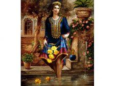 نخ و نقشه و مصالح آماده بافت تابلو فرش طرح دختر ایرانی قدیم - کد 3249