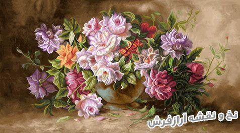 نخ و نقشه و لوازم بافت تابلو فرش طرح گلدان گل رز - کد 1083