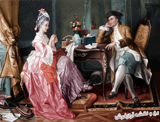 نخ و نقشه آماده بافت تابلو فرش طرح مجلسی فرانسوی هدیه عاشقانه - کد 1791