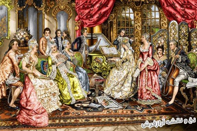 نخ و نقشه و مصالح آماده بافت تابلو فرش دستباف طرح فرانسوی مجلسی محفل موسیقی - کد 1801