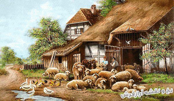 نخ و نقشه و لوازم آماده بافت تابلو فرش طرح منظره روستا و حیوانات دهکده - کد 2289