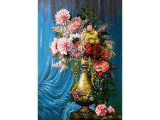 نخ و نقشه آماده بافت تابلو فرش طرح گل و گلدان با پس زمینه پرده آبی رنگ - کد 1096