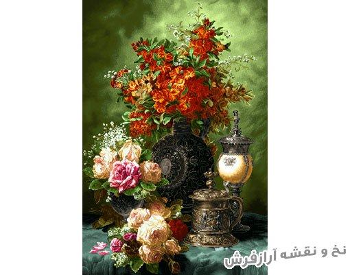 نخ و نقشه آماده بافت تابلو فرش طرح گل و گلدان قندانی و چراغ - کد 1107