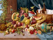 نخ و نقشه و مصالح آماده بافت تابلو فرش طرح گل و میوه - کد 1125