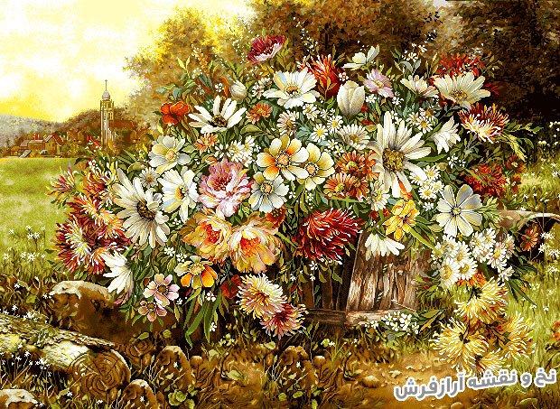 نخ و نقشه و مصالح بافت تابلو فرش سبد گل زیبا با سبد حصیری و گلهای مختلف - کد 1130