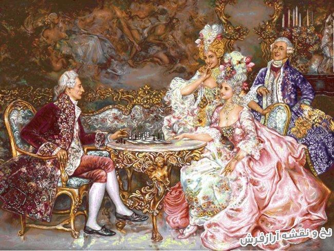 نخ و نقشه و مصالح بافت تابلو فرش طرح فرانسوی شطرنج باز جدید کد 1818