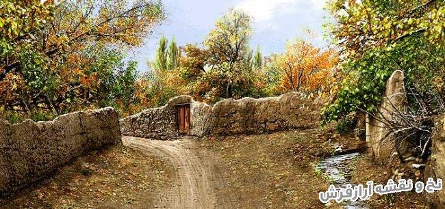 نخ و نقشه و مصالح بافت تابلو فرش طرح منظره کوچه باغ قدیمی - کد 2313