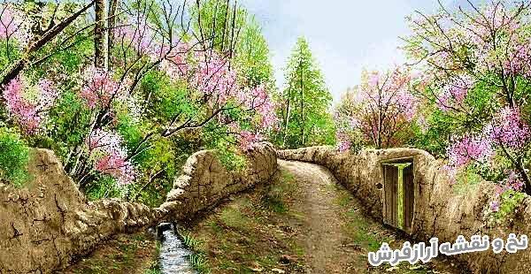 نخ و نقشه و مصالح آماده بافت تابلو فرش طرح منظره کوچه باغ بهاری با شکوفه های زیبا - کد 2330