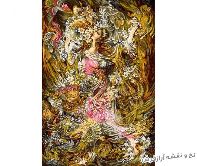 نخ و نقشه و مصالح بافت تابلو فرش مینیاتور بوی بهار - کد 3061