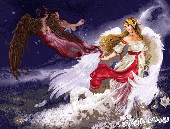 نخ و نقشه و مصالح آماده بافت تابلو فرش طرح فرشته و ماه - کد 3263