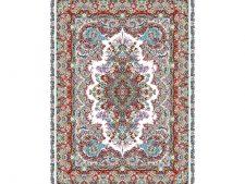 نخ و نقشه بافت فرش و قالیچه زیرپایی طرح خطیبی با رنگبندی زیبا - کد 698
