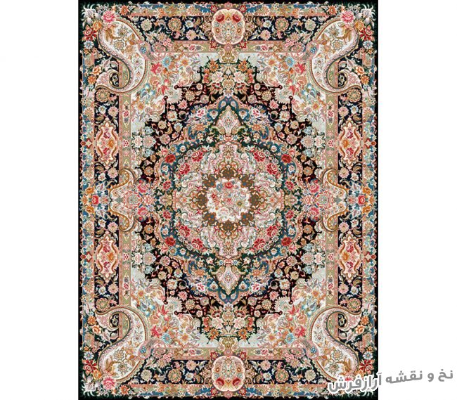نخ و نقشه و مصالح بافت فرش و قالیچه زیرپایی زیبا با پس زمینه مشکی - کد 703