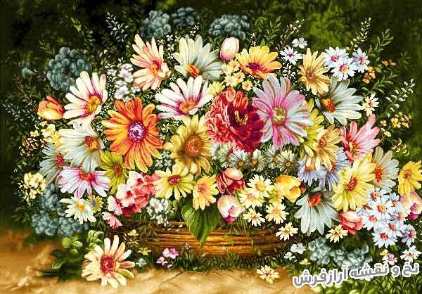نخ و نقشه و مصالح بافت تابلو فرش طرح گل و گلدان با گلهای زیبا کد 1156