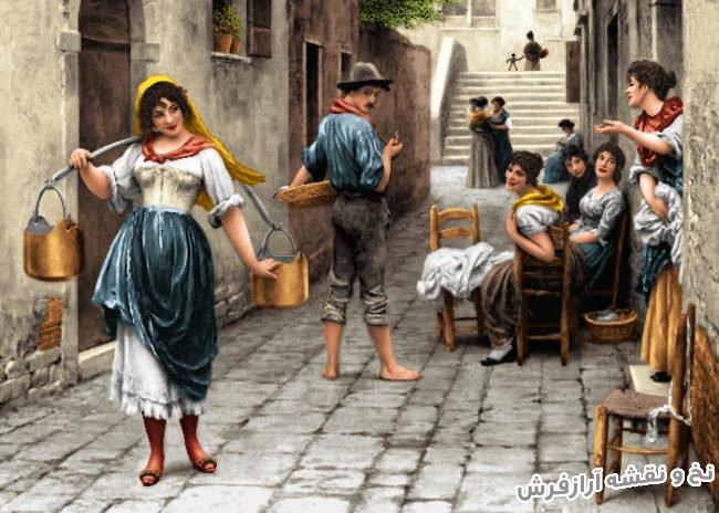 نخ و نقشه و مصالح آماده بافت تابلو فرش طرح دورهمی خیابانی - کد 1824