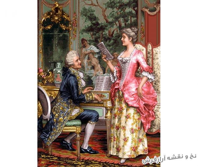 نخ و نقشه آماده بافت تابلو فرش دستباف طرح پیانو زن جدید کد 1828