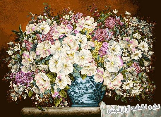 نخ و نقشه و لوازم آماده بافت تابلو فرش طرح گل و گلدان کد 1193