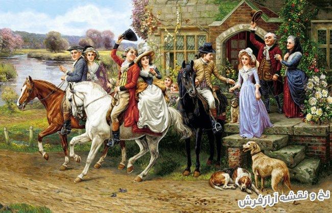 نخ و نقشه آماده بافت تابلو فرش طرح بدرقه عروس جدید کد 1892
