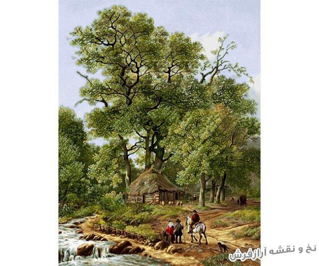 نخ و نقشه آماده بافت تابلو فرش دستباف طرح منظره درختان و کلبه و رودخانه - طولی - کد 2382