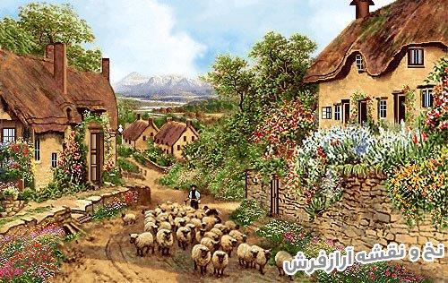 نخ و نقشه و مصالح کامل بافت تابلو فرش طرح منظره کلبه های روستایی و گله گوسفند کد 2396