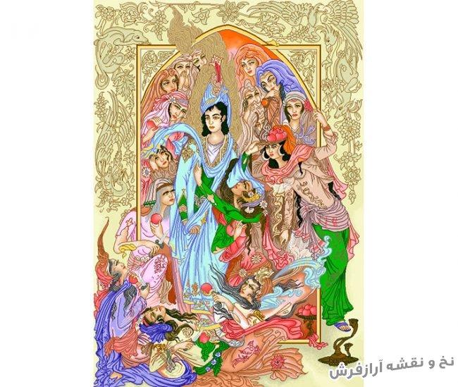 نخ و نقشه آماده بافت تابلو فرش مینیاتور طرح حضرت یوسف (ع) کد 3075