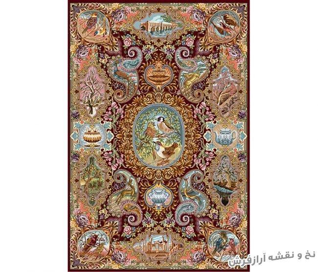 نخ و نقشه و مصالح آماده بافت فرش و قالیچه با طرح و نقوش خاص کد 775