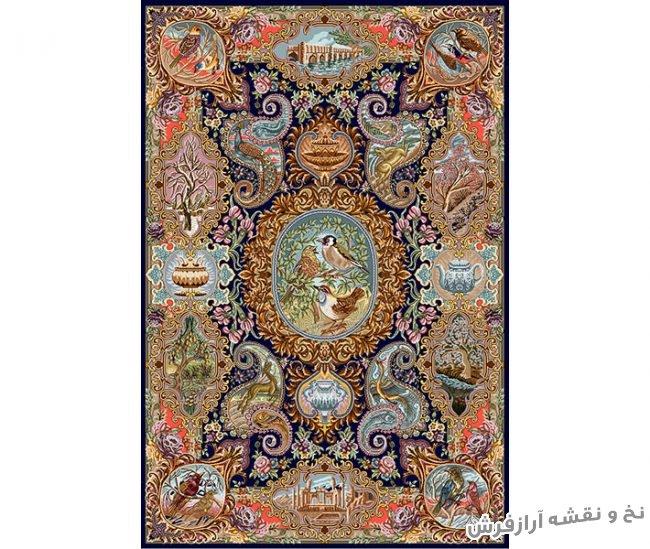 نخ و نقشه و لوازم کامل بافت فرش و قالیچه تمام ابریشم زیرپایی کد 776