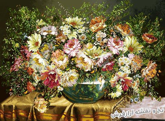 نخ و نقشه و لوازم کامل آماده بافت تابلو فرش طرح گل و گلدان وحشی کد 1182