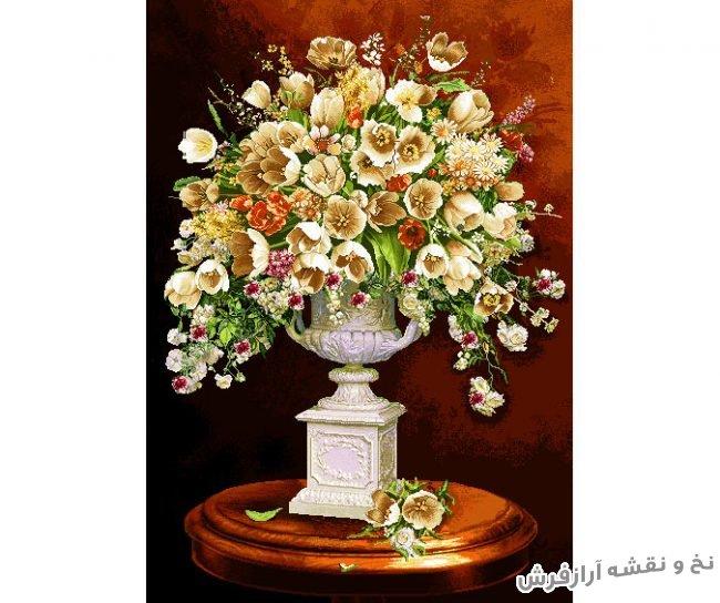نخ و نقشه آماده بافت تابلو فرش طرح گلدان سنگی و مرمر گل لاله کد 1187