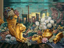 نخ و نقشه و مصالح آماده بافت تابلو فرش طرح نماد های ایران باستان کد 1188